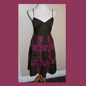 Betsey Johnson Small Brown Magenta Lace Dress